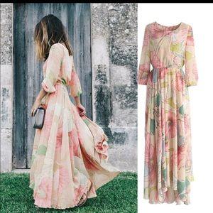 Flowy patterned dress.